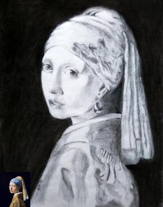 Sketch replica of painting-girl with pearl earing