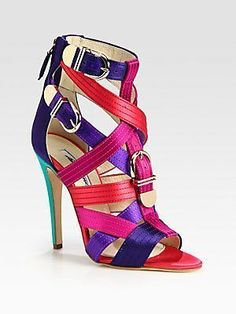 Brian Atwood Strappy Multicolored Satin Buckle Sandals #brianatwoodsandals #brianatwoodheelsstrappysandals