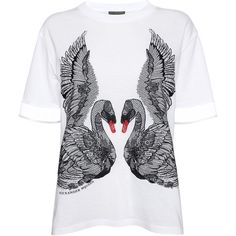 Alexander McQueen Swan Embroidery Boxy T-Shirt (3 740 SEK) ❤ liked on Polyvore