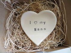 Nana Gift ring dish  wedding ring holder I love by MomologyPottery, $12.00