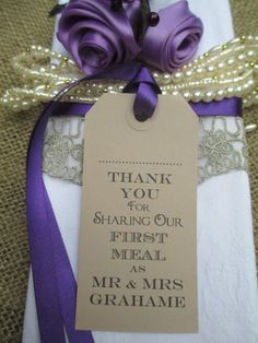 120 Wedding Name Place Tags  Napkin Ties-Wedding by TheIvoryBow