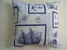 Nautical Throw Pillows - Sailboat Decor. Navy Blue Pillow Covers - Great Gift Ideas. Cushion Covers By Ladiestsantes.     €21,15 EUR