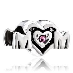 Sterling Silver Jewelry - birthstone charms mother daughter charms pink crystal mom heart 925 sterling silver bead Image.