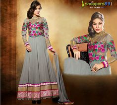 Extra 10% OFF on Grey Pink Long #AnarkaliSuit. Pay Online & Save More. Shop Now:- http://www.shoppers99.com/nargis_fakhri_bollywood_anarkali_suits/nargis_fakhri_grey_pink_long_anarkali_suit_t-565-1633