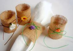 Set of 12 Burlap Napkin Rings, Wedding Table Setting,Rustic Napkin Ring. $12.00, via Etsy.