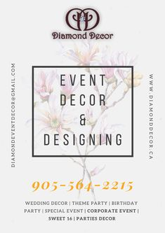 The Diamond decor is the top-rated event decor company in Mississauga. Call 905-564-2215 to know more. Our services parties decor, wedding decor, corporate event decor, baby shower, birthday parties, etc. Decor Wedding, Wedding Decorations, Diamond Decorations, Sweet 16 Parties, Corporate Events, Event Decor, Event Design, Top Rated, Special Events