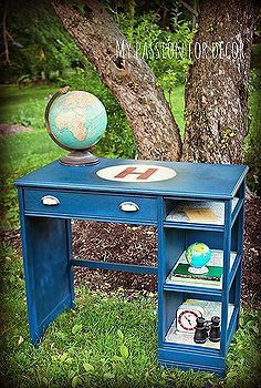 vintage gas station map desk, chalk paint, painted furniture, Painted in Chalk Paint by Annie Sloan in Napoleonic Blue Old White and Emperor s Silk
