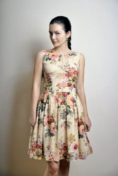 FREE SHIPPING Day dress Cotton voile Floral print door atelierMANIKA, $69.00