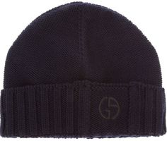 $108, Giorgio Armani Knit Beanie. Sold by farfetch.com. Click for more info: https://lookastic.com/men/shop_items/13379/redirect