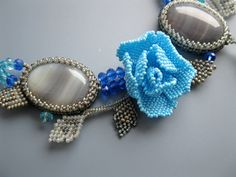 Beaded flower necklace light blue rose grey by Elinawonderland