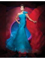 Chiffon Mermaid One-Shoulder Asymmetrical Neckline Rouched Bodice Prom Dress