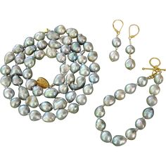 EXQUISITE Japanese SILVERY BLUE Akoya Baroque LARGE 14.2mm - 9mm Cultured Pearl Set :  25 Necklace, Bracelet & Earrings !