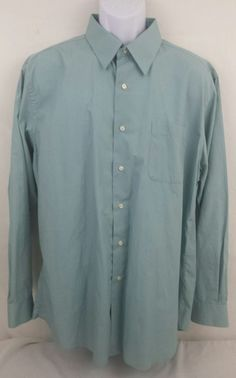 Bergamo New York Men's Size XL Long Sleeve Button Front Fitted Shirt Blue-Green #BergamoNewYork #ButtonFront