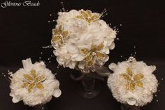 3-PC-SET-Lily-Bridal-Bouquet-Wedding-BEADED-FLOWERS-Yellow-and-White-rose-Quince