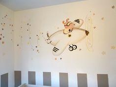 mural ratoncitos aviadores en tonos beige y marrones para niño o niña