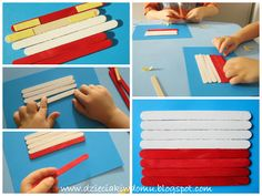 flaga polski z patyczków kreatywnych Popsicle Stick Crafts, Craft Stick Crafts, Preschool Crafts, Diy And Crafts, Crafts For Kids, School Projects, Fun Learning, Kids And Parenting, Plastic Cutting Board
