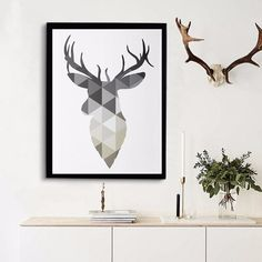 Modern Nordic Art Posters Faith Hope Love Geometric Deer Love Quote Simple Tree Painting Scandinavian Wall Art Home Decor Abstract Canvas, Canvas Art Prints, Painting Prints, Canvas Wall Art, Wall Paintings, Home Wall Painting, Decoration Photo, Decoration Pictures, Geometric Deer
