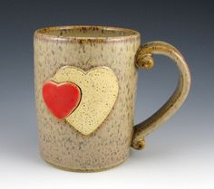 Pottery Mug with a Puzzle Heart