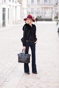 Fur vest and Céline mini luggage