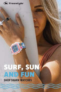 Amplified like a music festival, calculated like the tide, and fun like a day at the beach, Freestyle is the world& original and most trusted water sports watch. Tap the Pin to choose your Shark. Best Watches For Men, Mens Sport Watches, Surf Watch, Shark Watches, Summer Outfits, Cute Outfits, Watches Photography, Cute Young Girl, Look Fashion