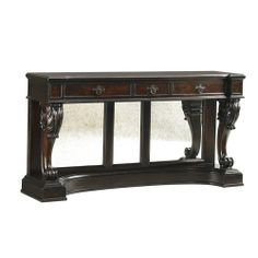 Tommy Bahama Home Island Traditions Traditional Greenwich Console Table with Mirrored Paneling and Pediment Base - Baer's Furniture - Sofa T...