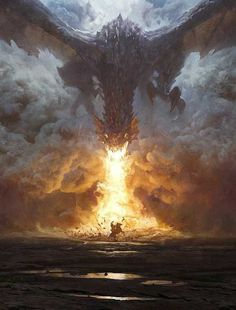 """Dragon attack on the lonely horse rider - fantasy illustration by Grzegorz Rutkowski - """"Dragon Breath"""" Fantasy Dragon, Dragon Art, Fire Dragon, Fantasy Artwork, Fantasy World, Dark Fantasy, Fantasy Battle, Fantasy Creatures, Mythical Creatures"""