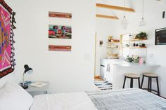 Find inspiration for your own tiny house with small kitchen space ideas. From colorful backsplashes to innovative cabinet designs, these creative tiny house kitchen ideas will inspire your own downsizing project. Tiny Guest House, Best Tiny House, Tiny House Living, Portland Apartment, Portland House, Portland Oregon, Airbnb Portland, Small Space Kitchen, Small Spaces