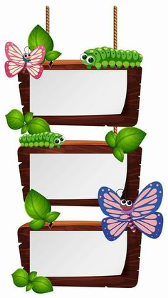 Wooden signs with caterpillars and butterflies illustration , Classroom Charts, Classroom Labels, Classroom Bulletin Boards, Classroom Rules, Classroom Design, Classroom Decor, School Welcome Bulletin Boards, Elementary Bulletin Boards, Frame Border Design