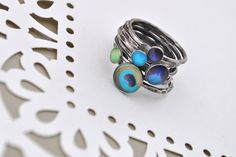 PEACOCK MEGASTACK. Sterling Silver Stacking rings (set of 7). YOUR Size. on Etsy, $95.00