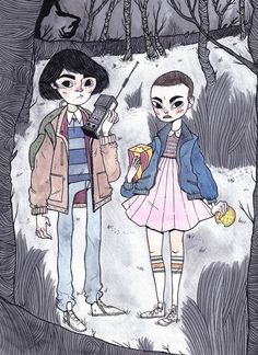 Heather Mahler depiction of Mike and Eleven-CUTEST THING EVER I WANNA MAKE MORE STRANGER THINGS FANART,,,,,