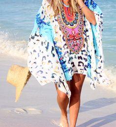Leopard Caftan Beach Coverup, Beach, Cancun