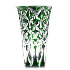 "Vintage Saint Louis French Crystal Vase Green Cut to Clear 11.75"" Tall  www.rubylane.com @rubylanecom"