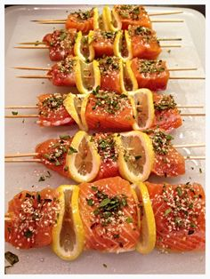 SPICED SALMON KABOBS Looking for a quick, healthy weeknight meal? Yes… I think we are ALL looking for those types of meals! I love something I can prep quickly, cook quickly and Fish Dishes, Seafood Dishes, Seafood Recipes, Cooking Recipes, Healthy Recipes, Seafood Bbq, Seafood On The Grill, Kabob Recipes, Bbq Fish Recipes
