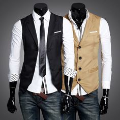 Sale 15% (12.89$) - Men\'s Fashion Casual Slim Fit Single-breasted Suit Vest