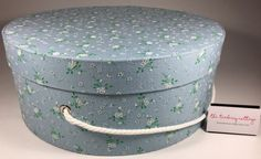 Extra Large Hat Box in Vintage Blue Flocked by TheTeaberryCottage