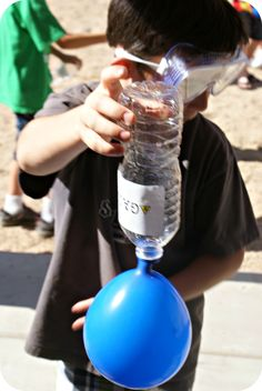 Mad Science Birthday Party Activities Blow Up Balloon with Bottle, Baking soda and Vinegar