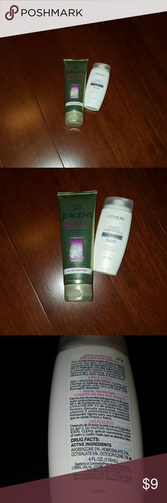 Buety products Jergens bb body cream/ loreal cream Used twice stiil good / Jerens BB BODY PERFECTING CRRAM SKIN CREAM ,5 BEAUTIFYING BENEFITS IN ONE MOISTURIZER  FOR A FLAWLESS APPEARANCE  ,SPEAIALLY DESIGNED TO ENHANCE😍7.5FL OZ (221 ML)/LOREAL OARIS BROAD SPECTRUM SPF 25 ,IDEAL MOISTURE DAY LOTION,48 HOURS HYDRATION/ DRY SKIN??4FL.OZ (118ML) Makeup
