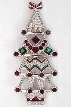 2002 swarovski christmas tree brooch a very tall rhodium plated tree ...