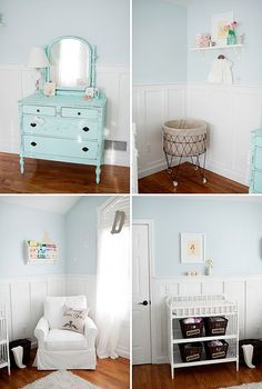love this shade of blue- could work for boy or girl, with the right accents. Paint color- Serena and Lilly Pool - Baby Nursery Today Girl Nursery, Girls Bedroom, Aqua Nursery, Whimsical Nursery, White Nursery, Vintage Nursery, Bedrooms, Bebe Love, Sophisticated Nursery