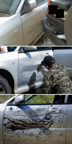 """How to creatively """"repair"""" bumps and dents on the car - Humor and funny stu . Amazing Art, Awesome, Chuck Norris, Faith In Humanity, That Way, Fun Facts, Cool Art, Haha, Funny Pictures"""