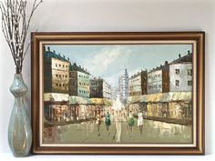 Large Vintage Paris Oil Painting French Street by ModRendition