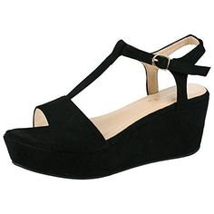 Oferta: 20.98€. Comprar Ofertas de ByPublicDemand Moana Mujer Zapato de Cuña De Plataforma sandalias - Negro 38 barato. ¡Mira las ofertas!