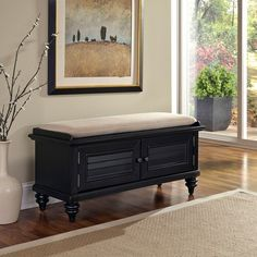 The Home Styles Bermuda Upholstered Storage Bench is inspired by the fusion of British traditional and Old-World tropical designs. Furniture, Living Room Furniture, Upholstered Storage, Home Decor, Farmhouse Blankets, Upholstered Storage Bench, Diy Room Decor, Upholstered Bench, Home Styles