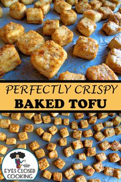 Perfectly baked and crispy. This tofu retains all the flavorful spices in every bite without any of the added moisture. It'll make you a lover of tofu. Informations About Perfectly Crispy Baked Tofu P Tofu Dishes, Vegan Dishes, Whole Food Recipes, Cooking Recipes, Cooking Tofu, Cake Recipes, Dinner Recipes, Vegetarian Recipes, Healthy Recipes