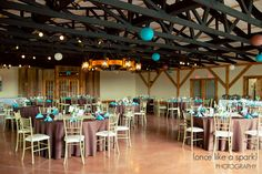 gorgeous venue, reception space, event rental, table linens, derby theme, paper lanterns, decor ideas, wedding photography :: Katie + Brian's Kentucky Derby Wedding at Hermitage Hill Farm and Stables in Waynesboro, VA :: with Kait