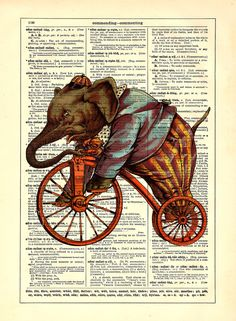 Elephant On A Bicycle Vintage Dictionary Print 8 by StayGoldMedia