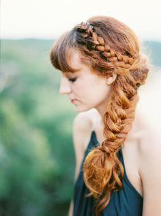Romantic Elopement. Braid wedding hair