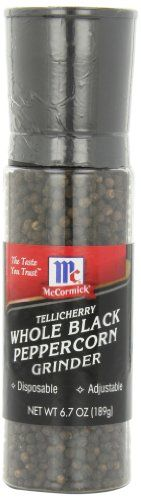 McCormick Tellicherry Whole Black Peppercorn Grinder, 6.7-Ounce - http://spicegrinder.biz/mccormick-tellicherry-whole-black-peppercorn-grinder-6-7-ounce/
