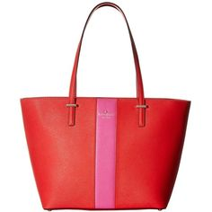 Kate Spade New York Cedar Street Racing Stripe Small Harmony ($278) ❤ liked on Polyvore featuring bags, handbags, shoulder bags, red leather shoulder bag, leather purse, genuine leather shoulder bag, red handbags and kate spade shoulder bag