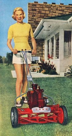 Toro lawn mowers, 1950s http://www.uk-rattanfurniture.com/product/charles-bentley-garden-log-burner-brazier-55cm-with-cooking-bbq-grill/